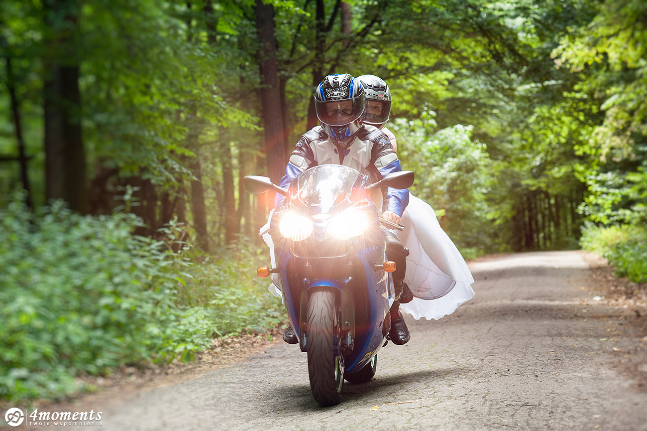 motocyklowy plener ślubny